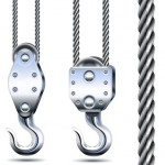 Vector Crane Hooks and Steel Rope isolated on white background
