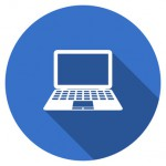 Flat design blue round web computer vector icon