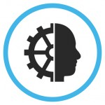 Cyborg Gear vector bicolor icon. Image style is a flat icon symbol inside a circle, blue and gray colors, white background.