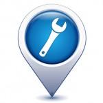 clef d'entretien sur marqueur golocalisation bleu